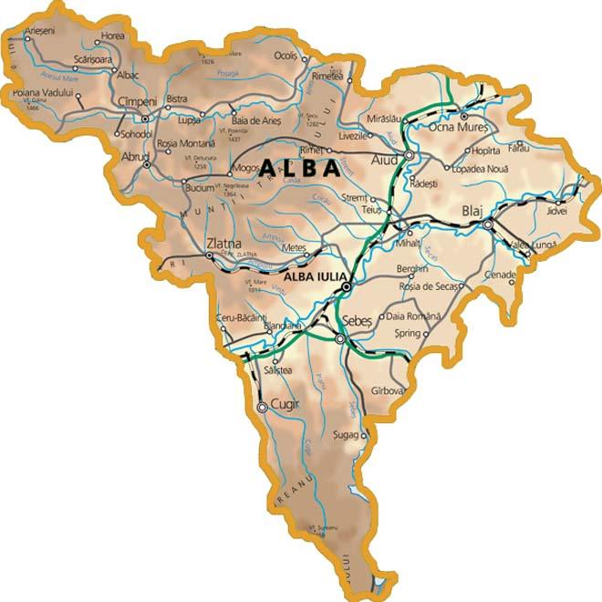 Harta Judetului Alba Foraje Puturi Apa