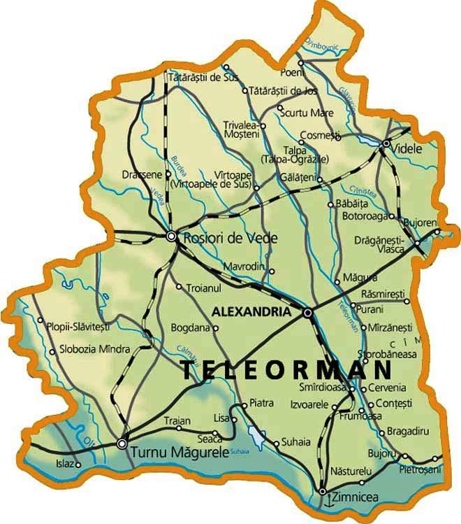 Harta Judetului Teleorman Foraje Puturi Apa